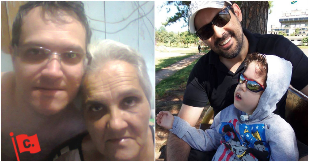 À esquerda, diego belmonte com sua mãe, clésnia, depois de confirmarem a cirurgia; à direita, thiago Sagat acompanhado de seu filho pietro