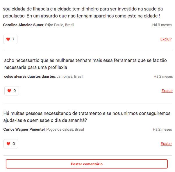 Comentários feitos por pessoas que participaram da mobilização ajudaram a convencer o prefeito a responder (foto: Reprodução/Change.org)