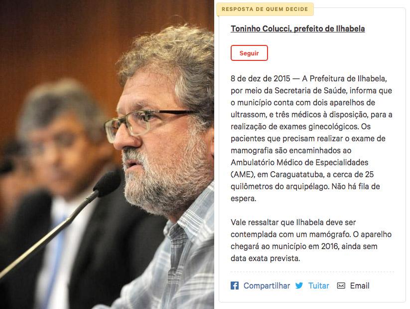 Prefeito Toninho Colucci discursando; ao lado, a resposta oficial ao abaixo-assinado (foto: Alesp)