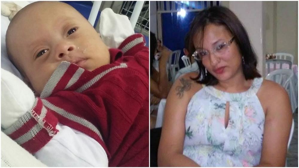 À esquerda está o bebê artur, que passou por uma cirurgia no coração e se recupera; à direita, sua mÃe e heroína, débora mendes, de 27 anos