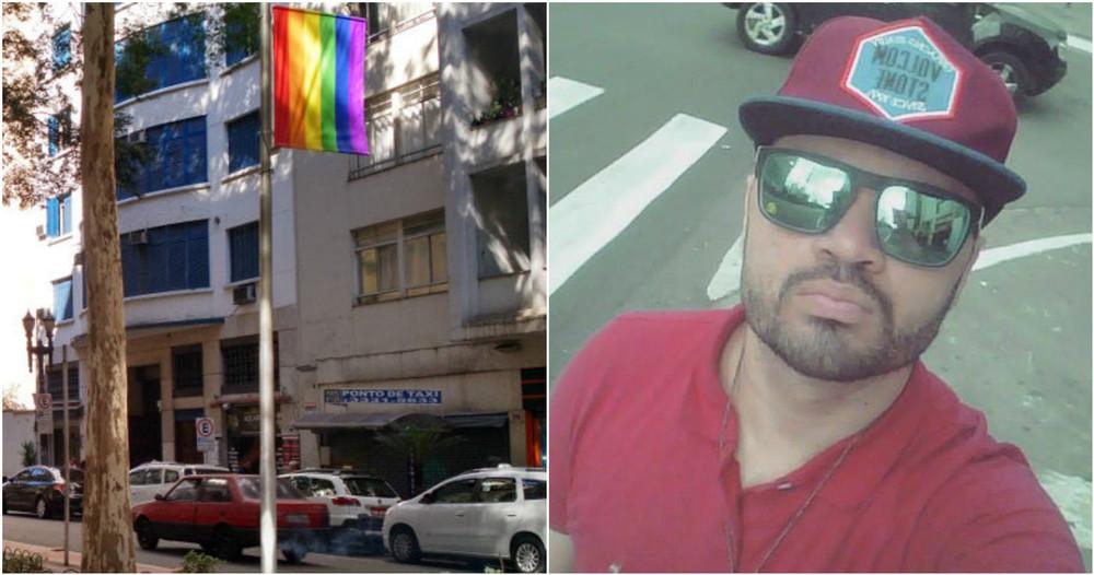 À esquerda, imagem de uma das bandeiras instaladas em avenida do largo do arouche; à direita, o jornalista helcio beuclair, morador do bairro. (imagens: divulgação)