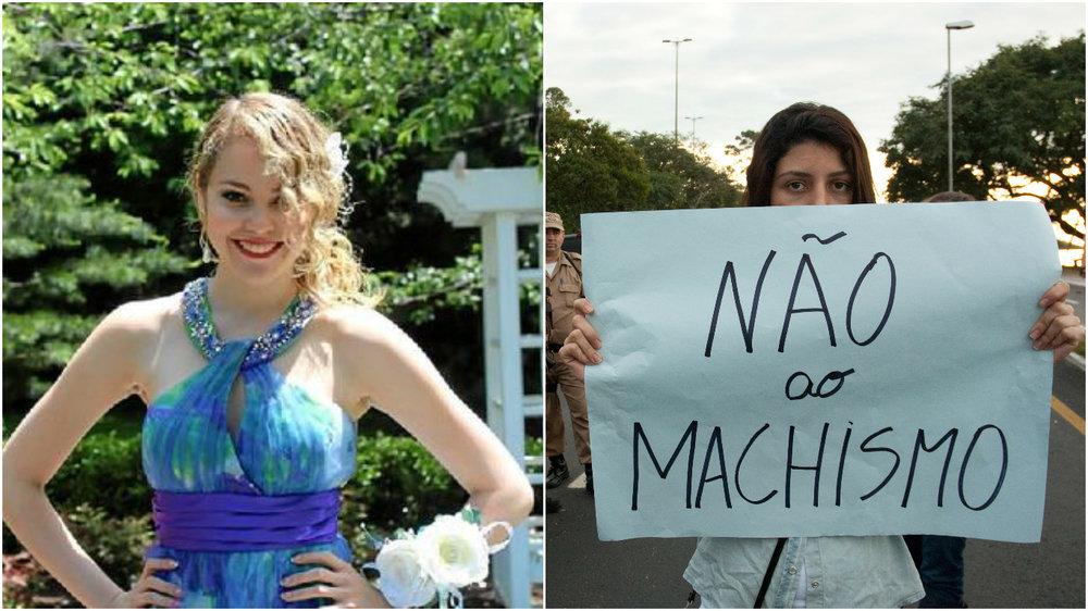 à esquerda, louise ribeiro,assassinada por um colega porque ela não queria 'reatar' um relacionamento; à direita, protesto contra o machismo