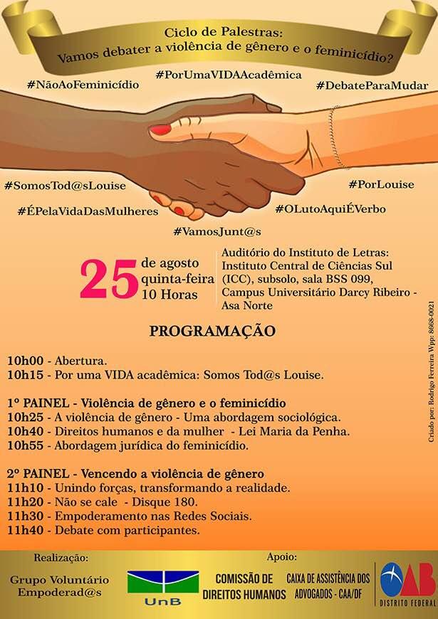 convite do ciclo de palestras que ocorre na unb sobre feminicídio