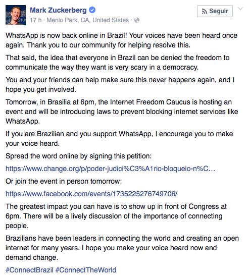Fundador do Facebook divulgou petição (imagem: reprodução)