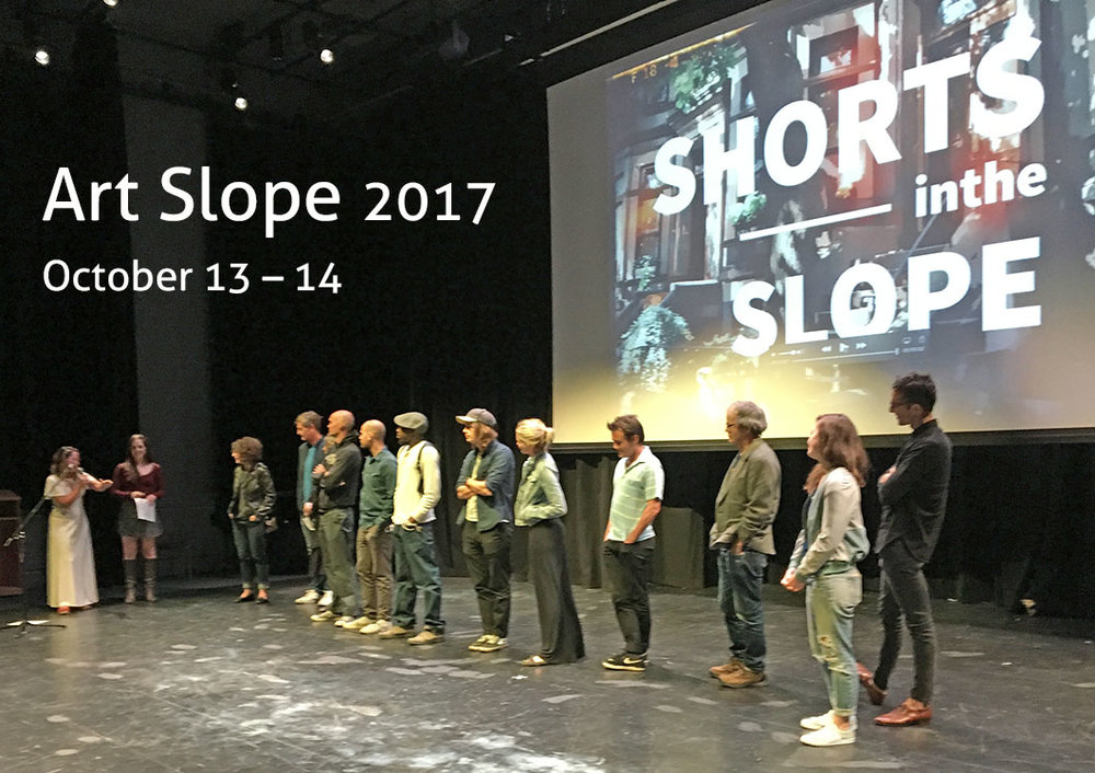 Filmmakers from last year's Art Slope's Shorts in the Slope program, appear on stage for an audience Q&A at the Berkeley Carroll School Performance Space, September 25, 2016.