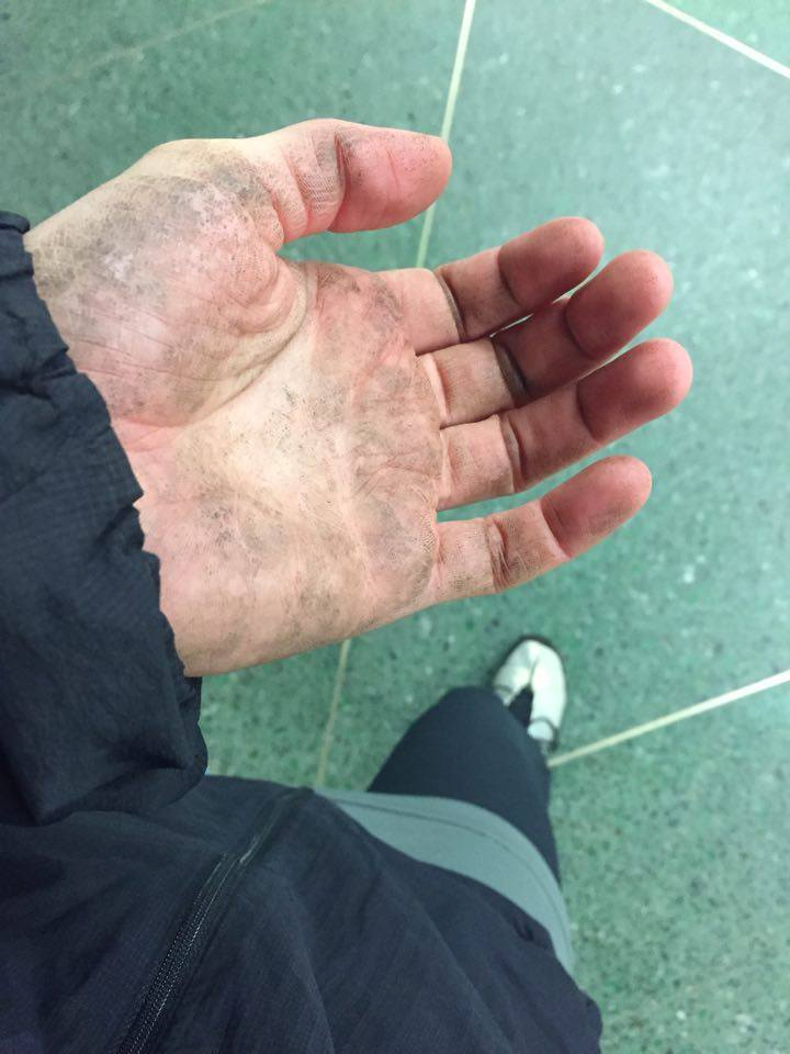 Ofelia's hand after training.