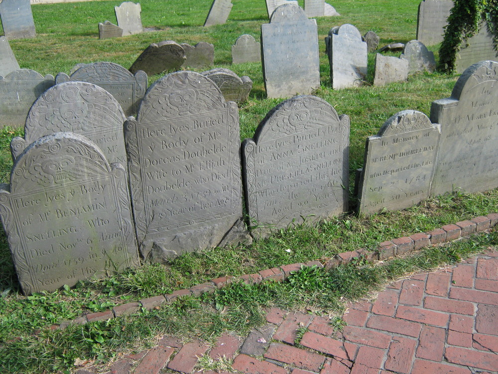 Cemetery headstone grouping