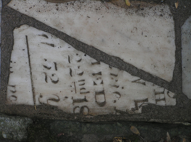 Buena Vista Park gutter, created from an old gravestone