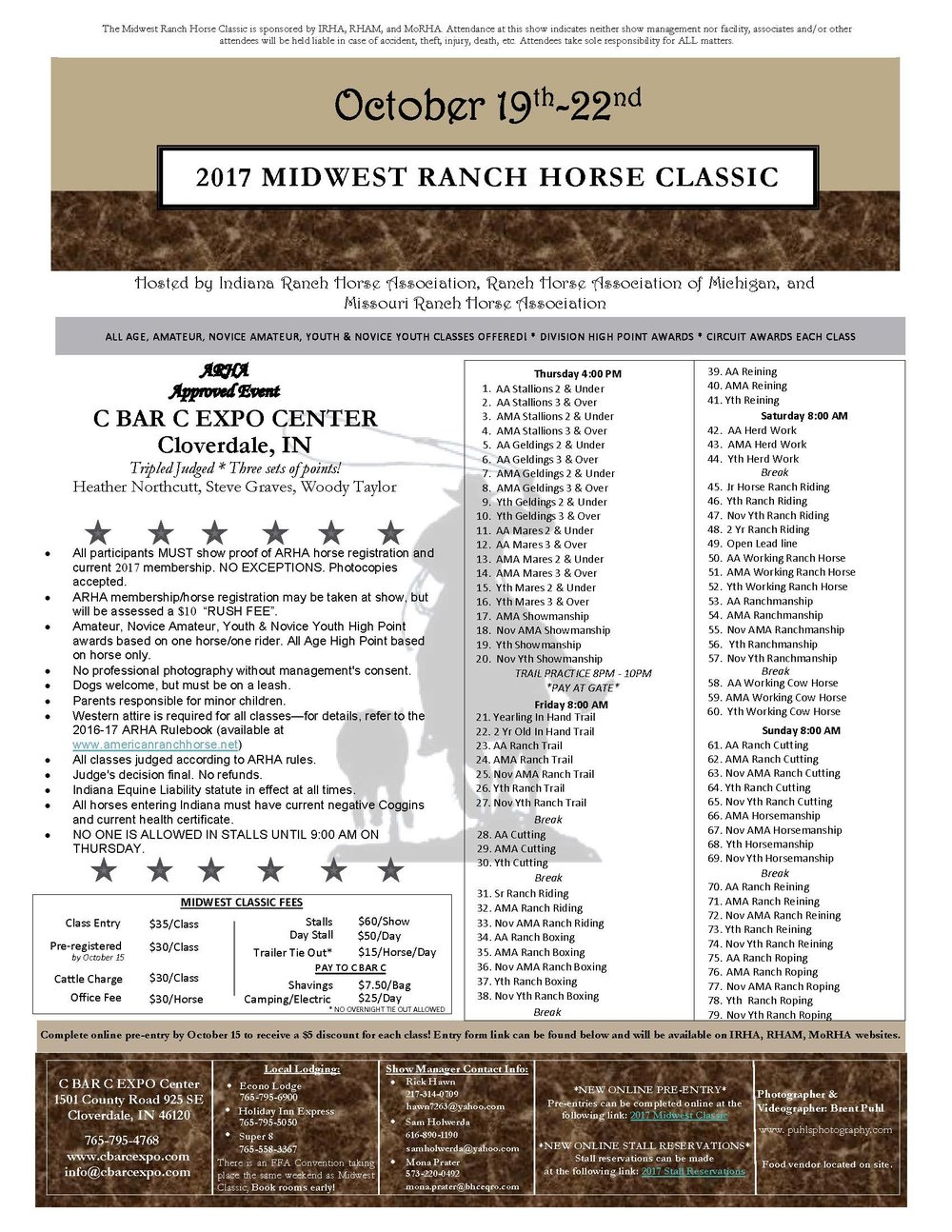 Midwest Ranch Horse Classic Showbill