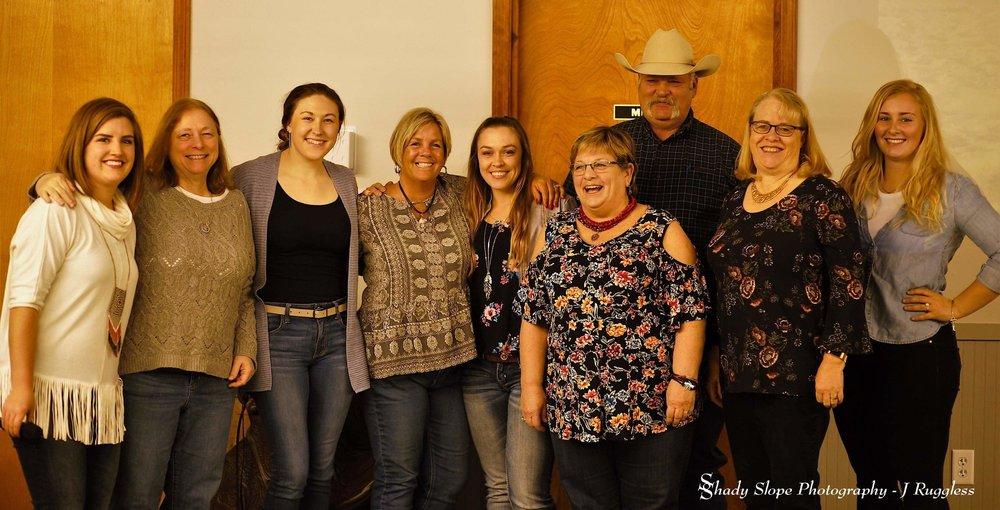 Left to right:  Toni blonde, edie luckett, Lisa filbrandt, Sam holwerda, kayla dewey, chris rantz, jim harroff, annette Crandall & Amanda Rottman