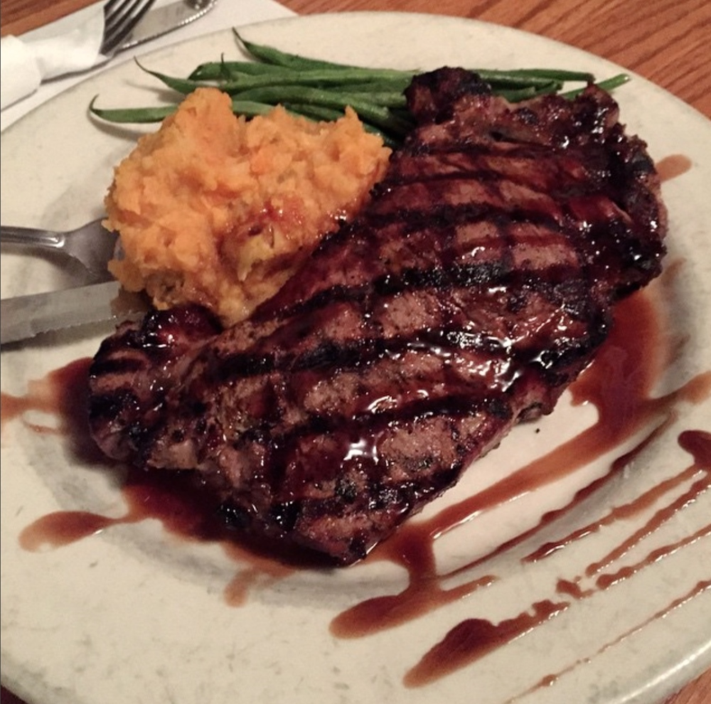 Grilled Porkchop w/Balsamic Glaze, Mashed Sweet Potatoes & Spinach