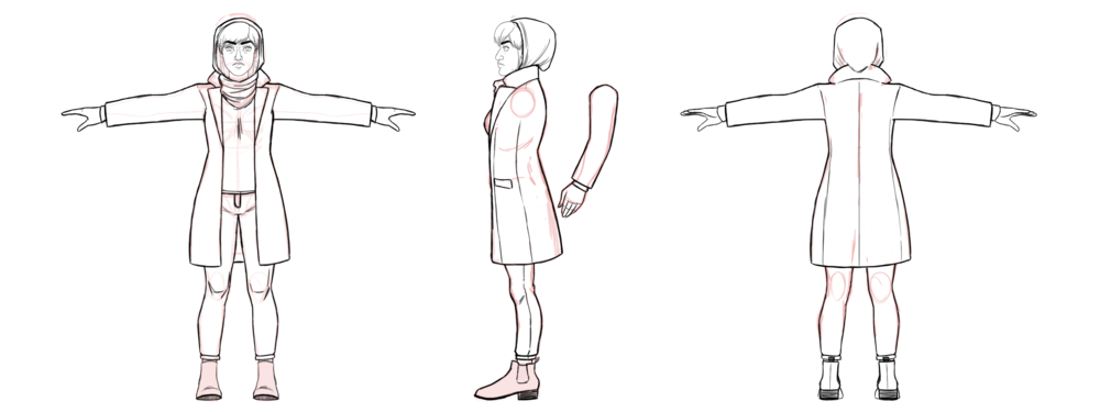 The female investigator (unnamed) - of 'Bab The Man Who Took Too Much' - character design turnaround.
