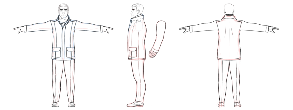 The male investigator (unnamed) - of 'Bab The Man Who Took Too Much' - character design turnaround.
