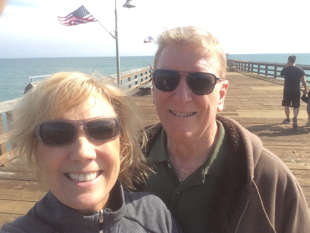 Sheryl and husband, Jim, enjoy the sand and surf at Ventura, CA.
