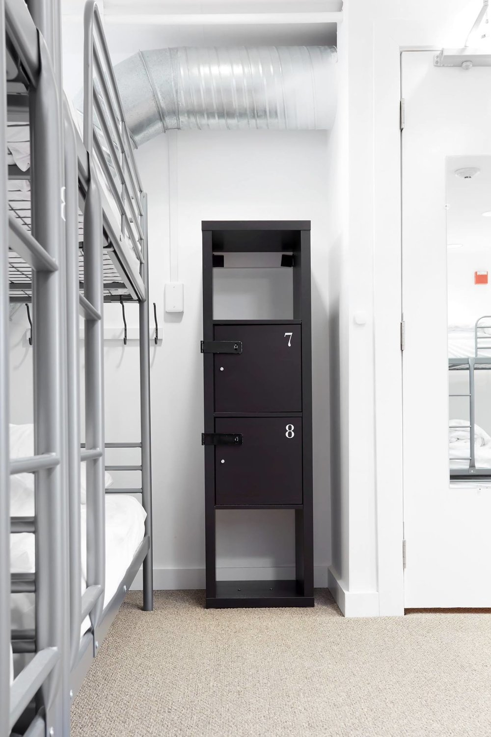 Guest lockers in a shared room