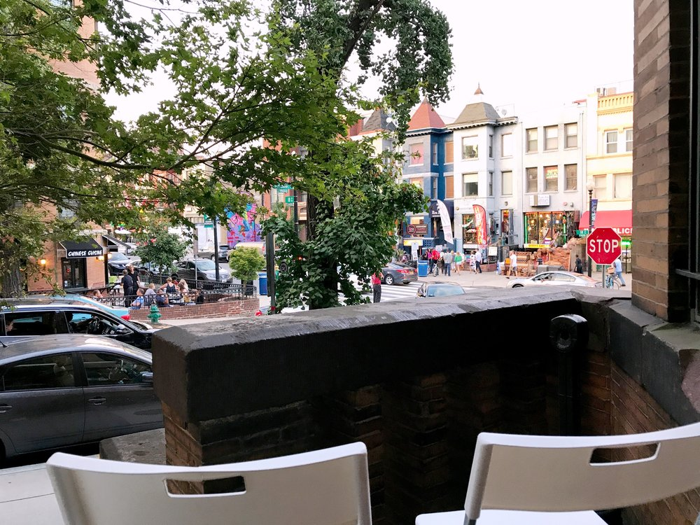 View of lively Adams Morgan main street as viewed from the property