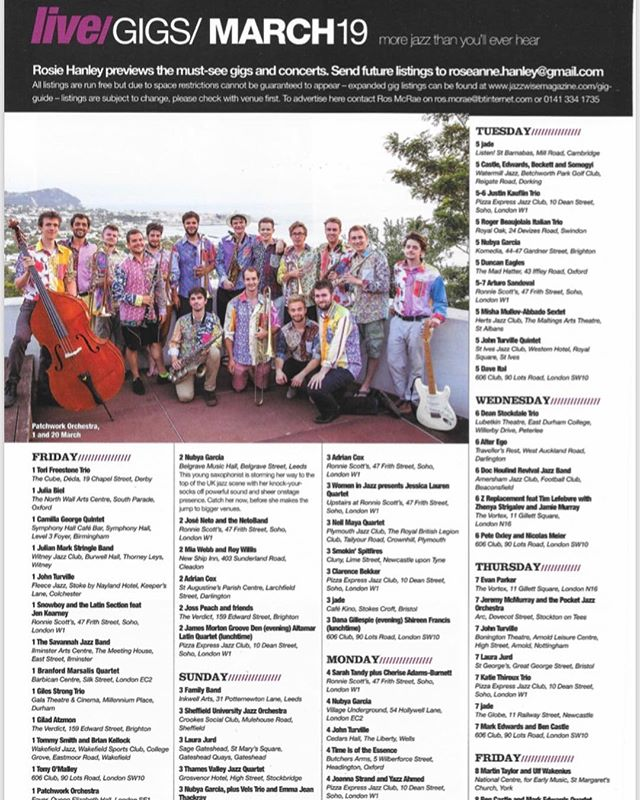 Thanks so much to @jazzwisemagazine for plugging our album and our album launch gig in this month's edition!! 🙌 #jazzwise #jazzwisemagazine #patchwork #patchworkjazzorchestra #albumoutsoon