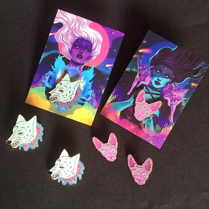 3 eyed sphynx cat pin & cosmic wolf pin