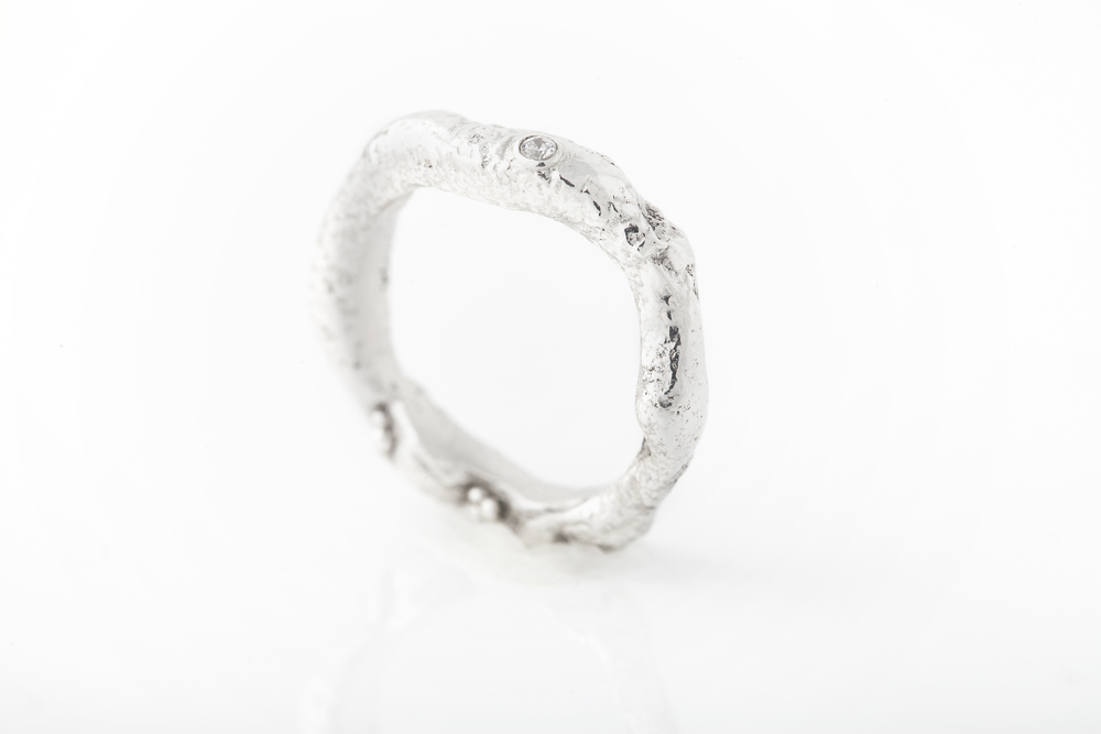 Custom wedding band - Reticulated sterling silver, fine silver granulation, lab-grown diamond.