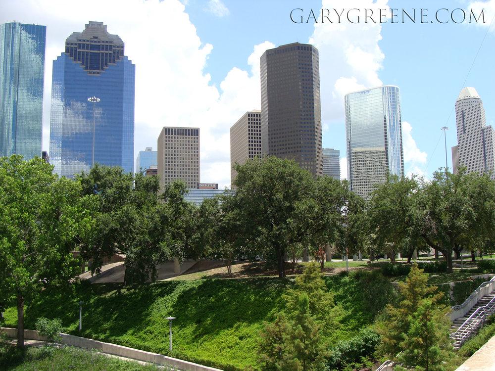 View of downtown via Buffalo Bayou Park
