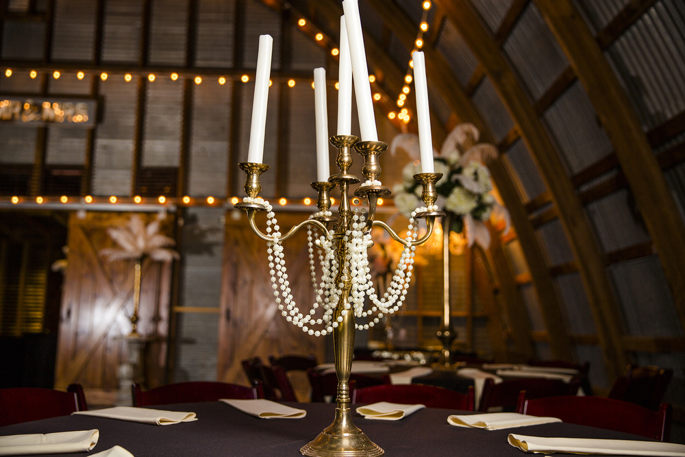 Walnut Tree Weddings, Olton, Details, Great Gatsby, Candles, Pearls, Table Setting