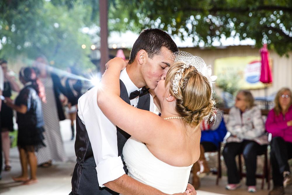 Kissing on the dance floor, First dance, Walnut Tree Weddings