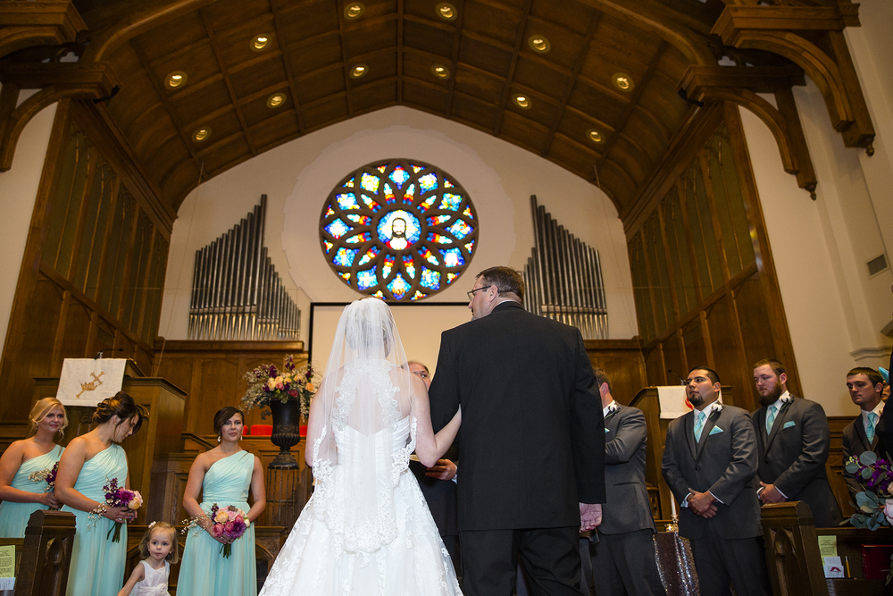 father of the bride, giving the bride away, wedding ceremony, plainview methodist church
