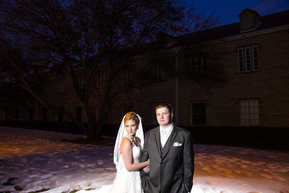 snow, january wedding, edgy, dramatic, cool, bride and groom portraits, lubbock wedding photographers