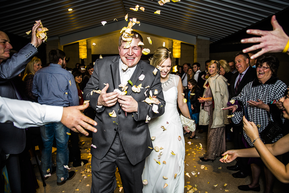 plainview country club, wedding reception, grand exit, flower pedals