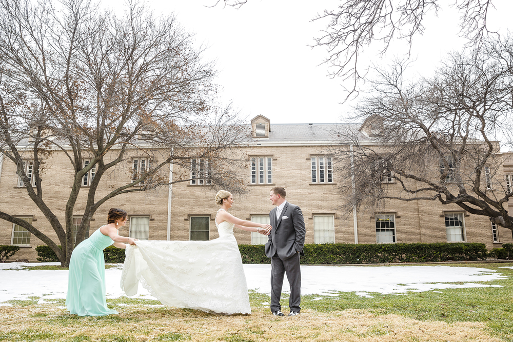 first look, bride and groom, january wedding