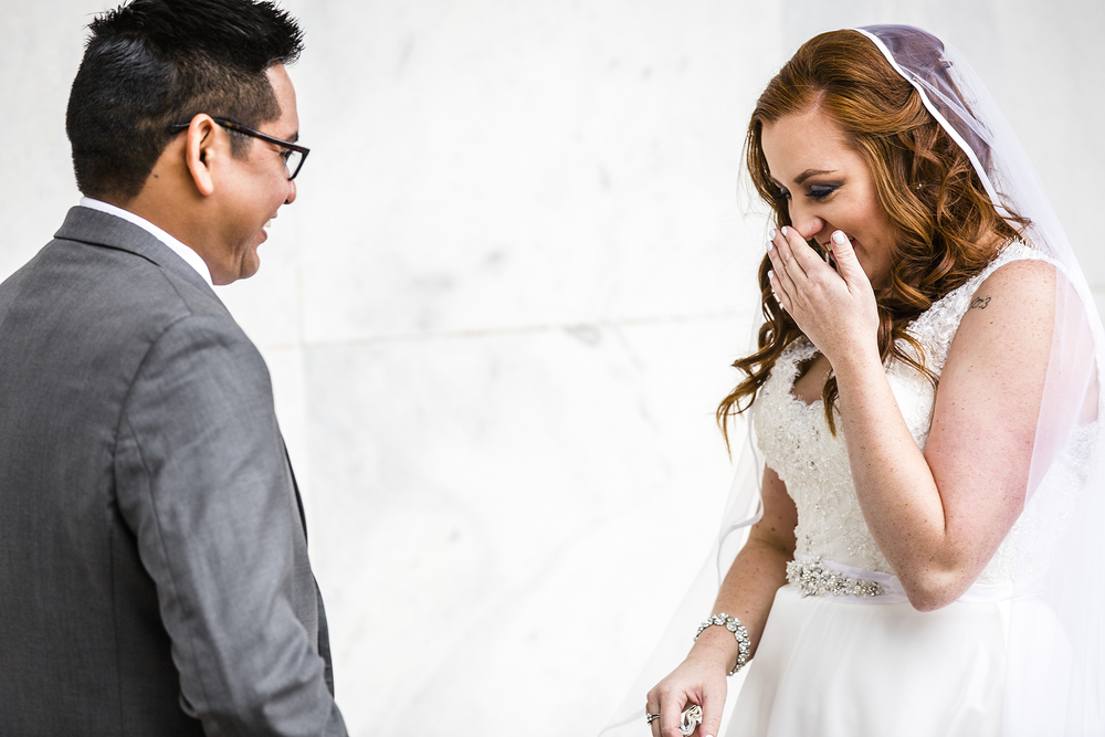first look, bride and groom, cute reaction, romantic wedding photography
