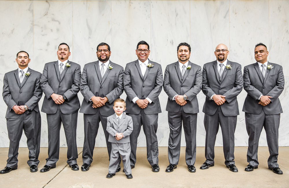 groomsmen, bridal party portraits, serious faces