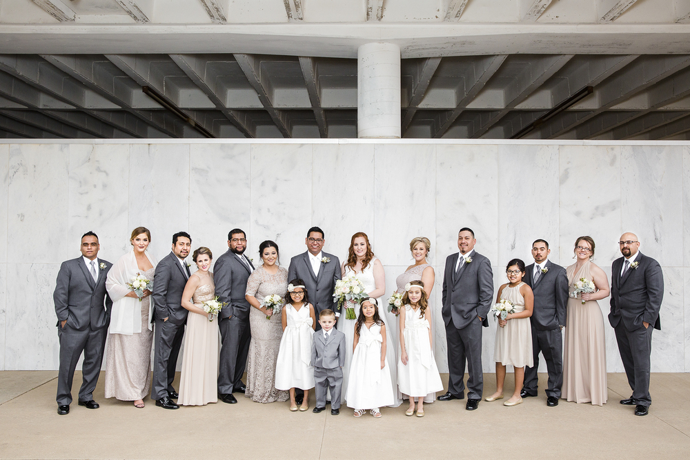 bridal party, wedding day portraits, best serious faces, downtown lubbock texas