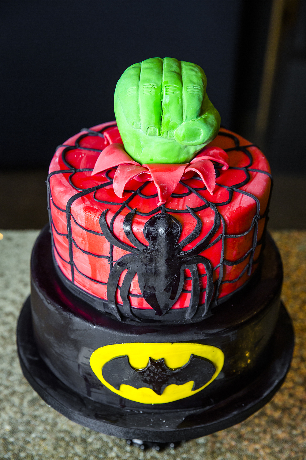 superhero cake, hulk, spiderman, batman, creative wedding cakes