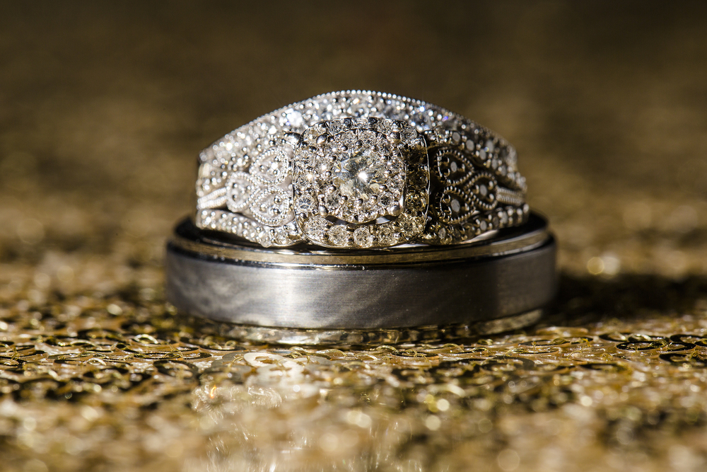ring shots, wedding rings, striking wedding details, gold and silver, diamonds are forever