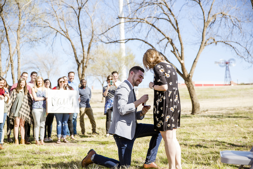 down on one knee, proposal, surprise engagement, bride and groom