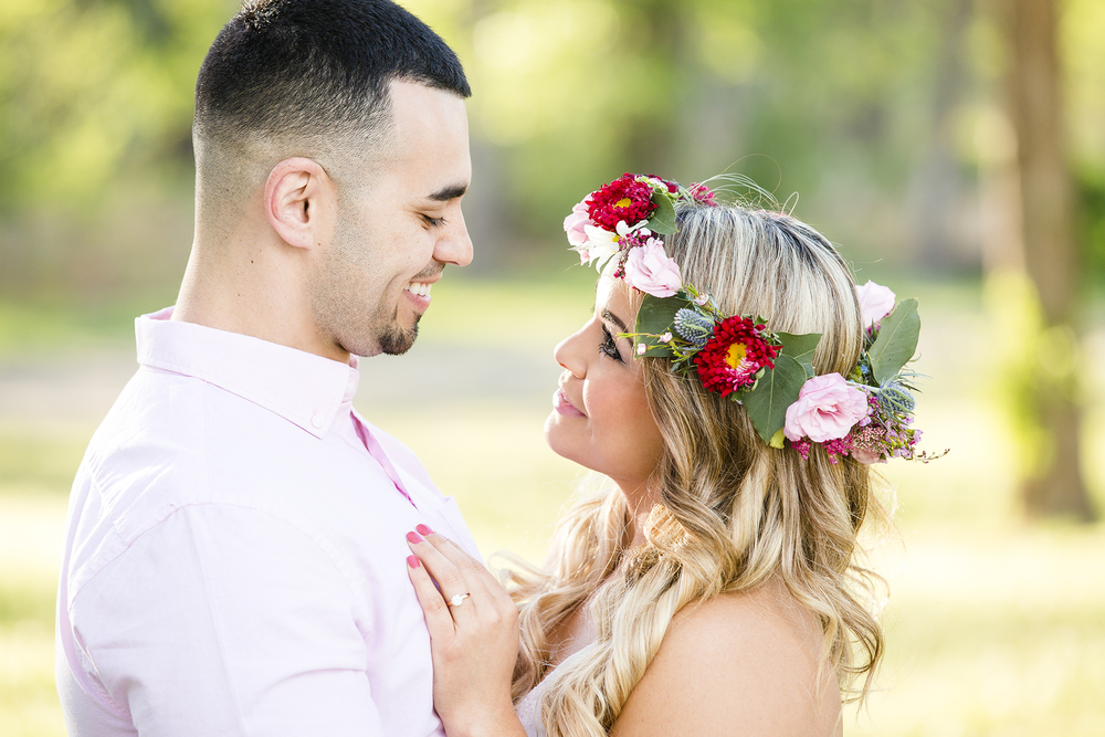 flower crown, sweet, romantic, engagement photography, lubbock texas, natural light