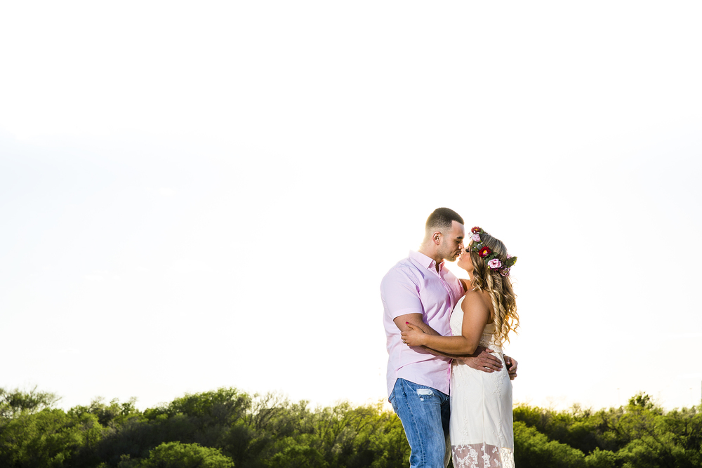 hard light, flower crown, sexy, romantic, dramatic engagement photographs