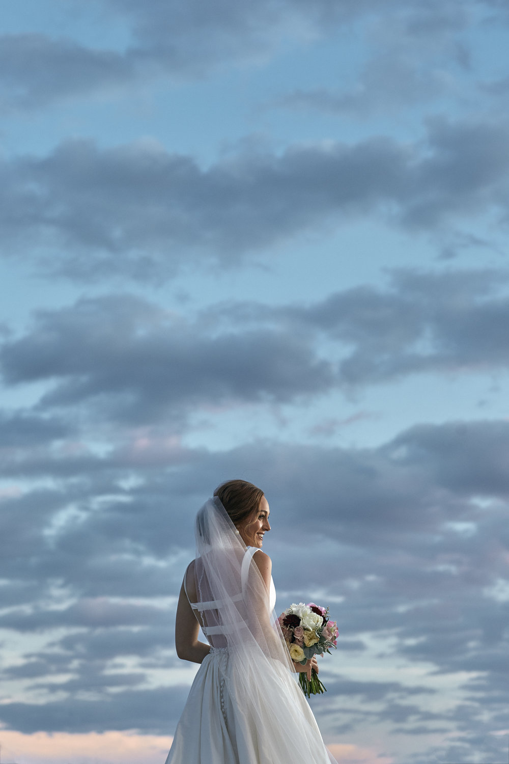 lubbock bridal photography, sunset, texas sky, bridal portraits, wedding photography, blue sky