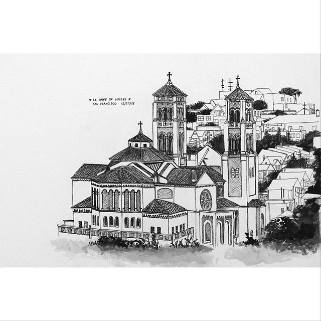 Sketches from left: St Anne of Sunset Conservatory of Flowers Speckels Temple of Music  #inkonpaper #goldengatepark #architecturedrawing #sanfrancisco