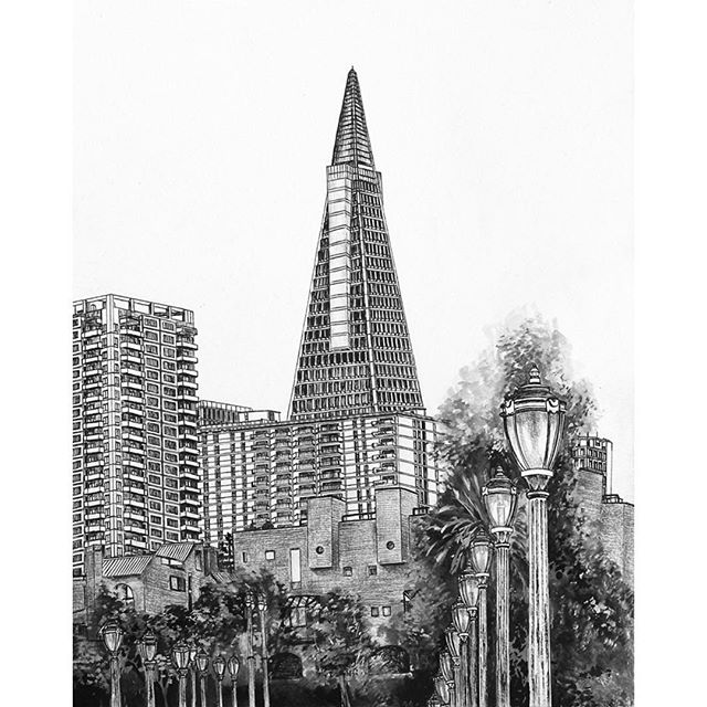 Drawing, Transamerica Pyramid (view from the Embarcadero)  #architecturedrawing #transamericapyramid #buildingsketch
