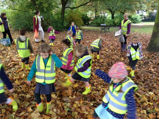 We enjoyed listening to the noises the leaves made as we walked through them.