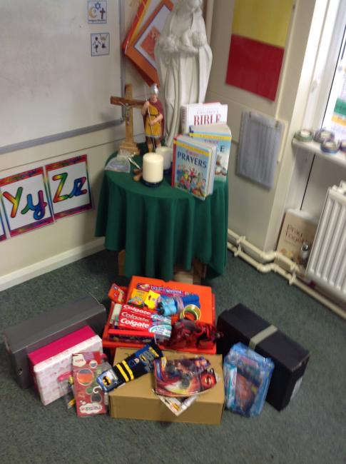 Thank you for your generosity for this years shoe box appeal. Here is a picture of the gifts  you donated before we put them into shoe boxes. We will make lots of childrens Christmas  a little happier this year.