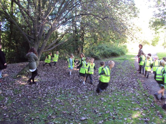We went on a Gruffalo walk to help us think of adjectives.  We scrunched and crinkled through the leaves listening carefully.