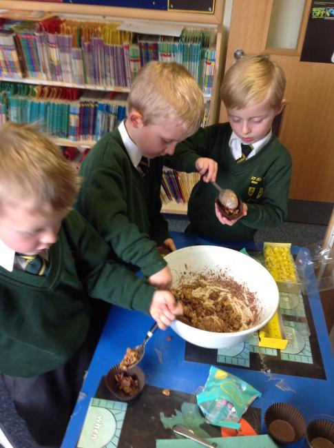 We made tasty chocolate nests.