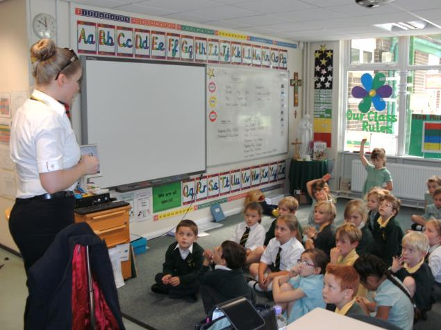 We had a special visitor Mrs Rawstron who told us all about her job as cabin crew. Some very intersting questions were asked. A big thank you to Mrs Rawstron!