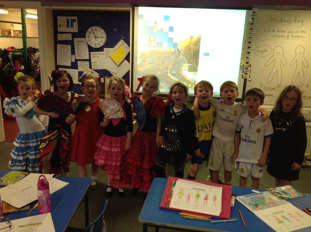 "We had a topic day to finish off our Geography topic: ""Around Europe."" We dressed up as different countries from Europe. Here are the Spanish group!"