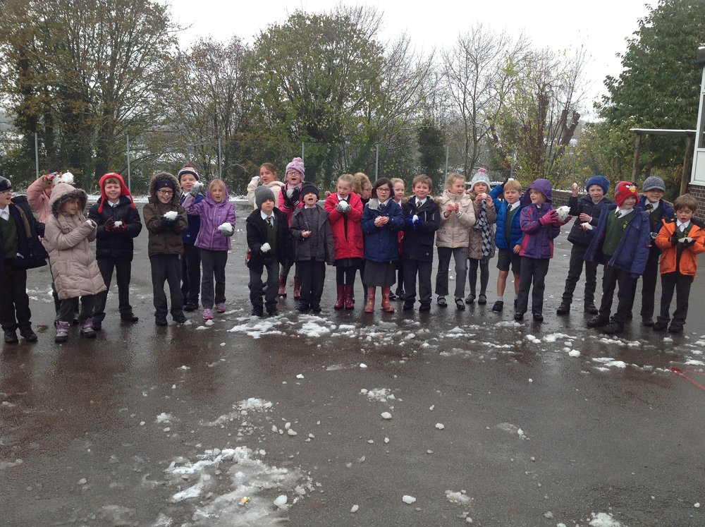 We have had a snow day this term too. We had a quick play with the snow and even threw snowballs at poor Mrs Keane and Mrs Walsh!
