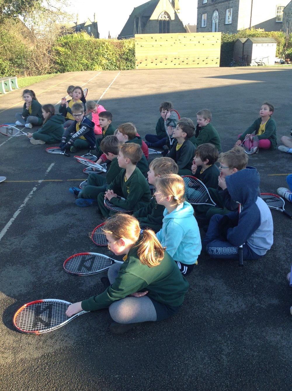 Year 3 are enjoying tennis training each week. We are improving our strokes and having lots of fun games.