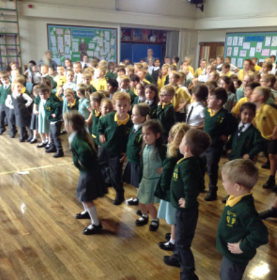 27th September National Fitness Day - The whole school gathered in the hall to take part in National Fitness Day. All the children took part in a Samba routine with Samba rolls, Samba shimmies and            Carnivals waves. The children had great fun and one child was heard saying at break time